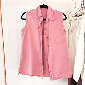 Vintage Sleeveless Button-up